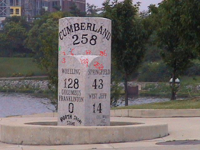 mile marker 258, marking 258 miles from the beginning